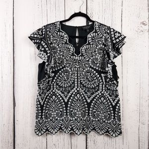 Laundry By Shelli Segal Lace-Up Blouse Size Large